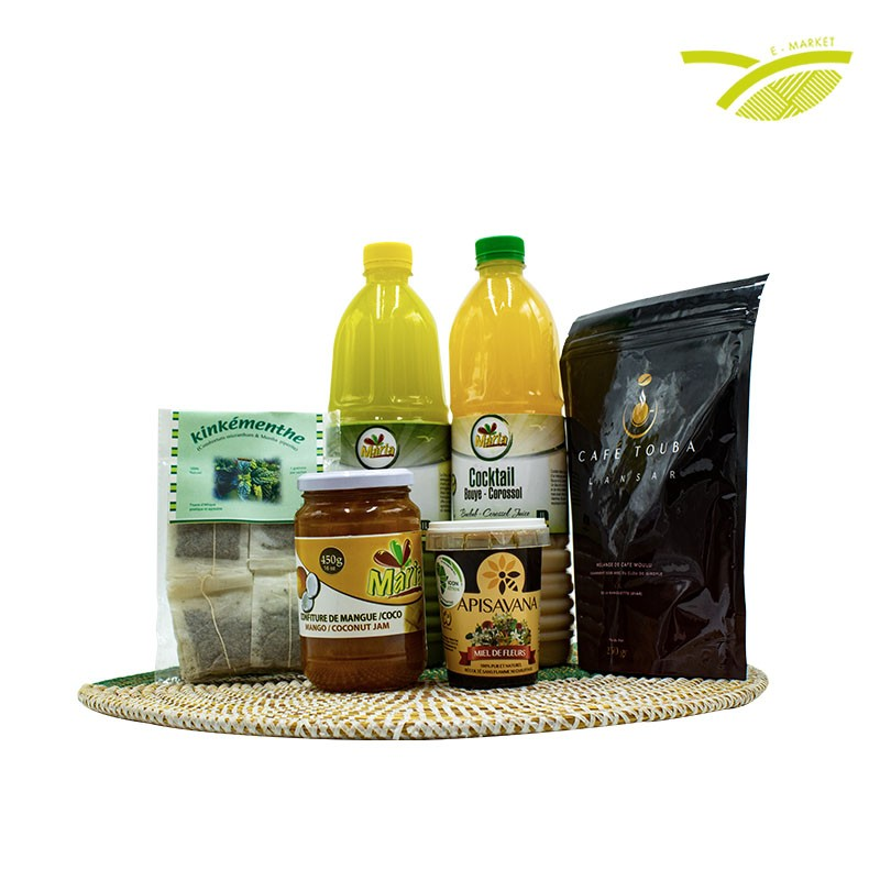 Panier ramadan à base produits locaux composé de jus naturels, sirop, confiture, thé, café, miel